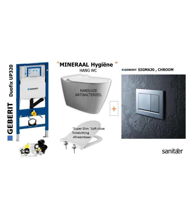 Geberit  Geberit Up320 -Mineraal Hygiëne Hangtoilet Set met Sigma30 CHROOM Drukplaat