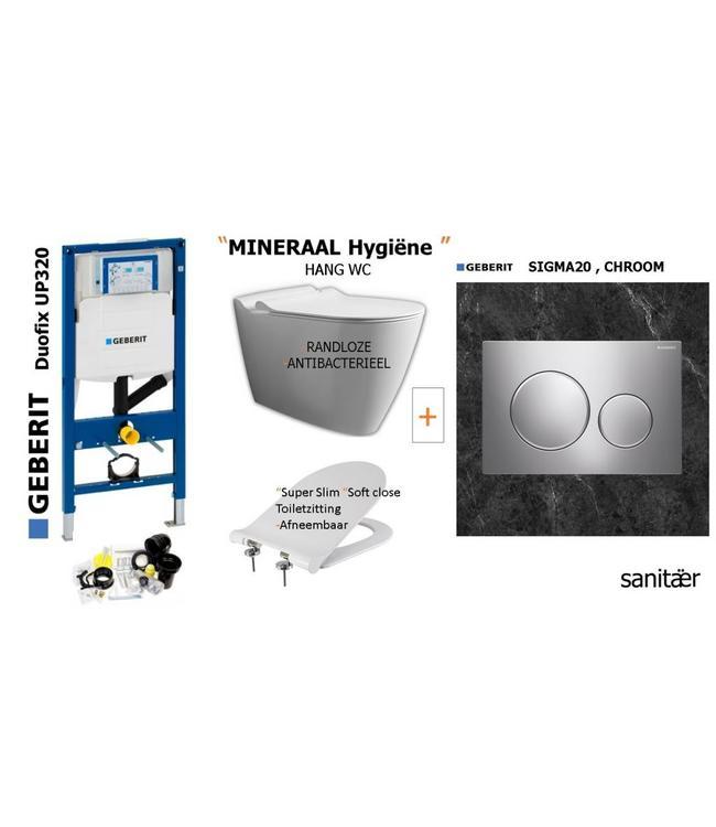 Geberit  Geberit Up320 -Mineraal Hygiëne Hangtoilet Set met Sigma20 CHROOM Drukplaat