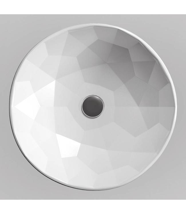 Sanitear Kwarts opzetwastafel 49 x 15 cm hoogglans wit