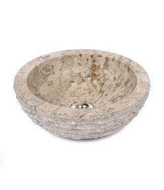 Sanitear NATUURSTEEN  WASKOM ROND ,  33 cm , grijs