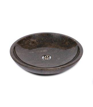 Sanitear NATUURSTEEN  WASKOM ROND ,  50 cm , Bruin