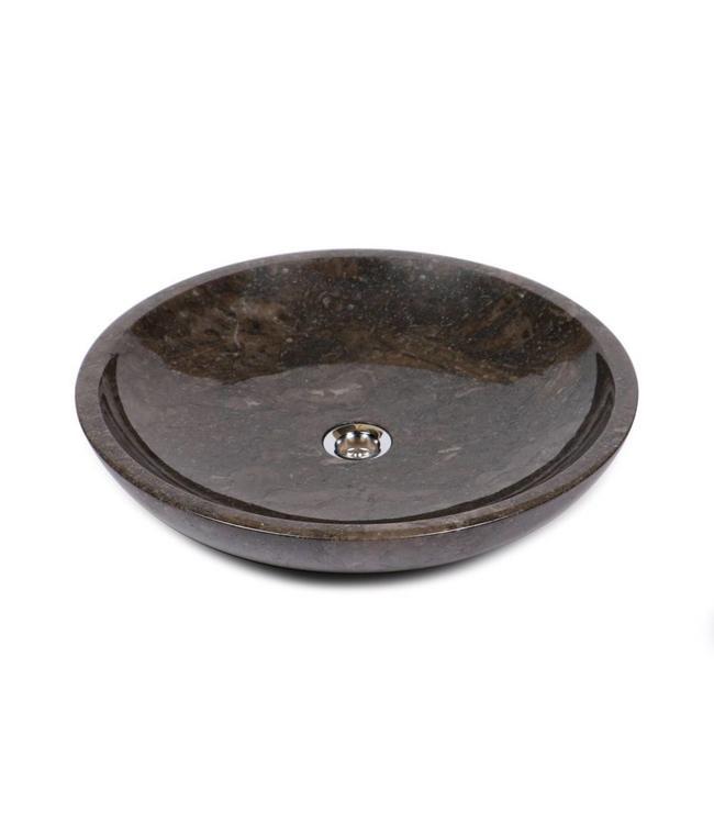 Sanitear NATUURSTEEN  WASKOM ROND ,  50 x 50 x 10 cm , Bruin