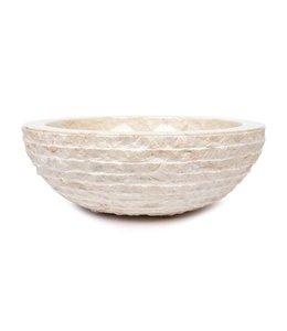 Sanitear NATUURSTEEN  WASKOM Crème , ROND ,  33 cm , Hamerslag