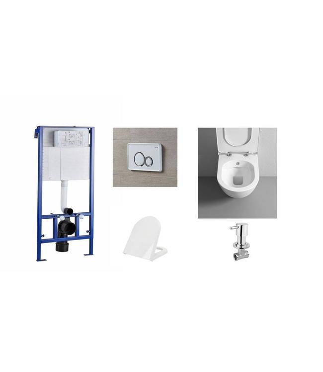 Compact / ruimtebesparende toilet met bidet . Compleet toiletset