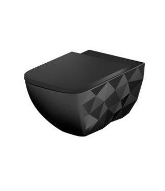 Sanitear ELEMENTO, Hangtoilet  zwart, zonder spoelrand