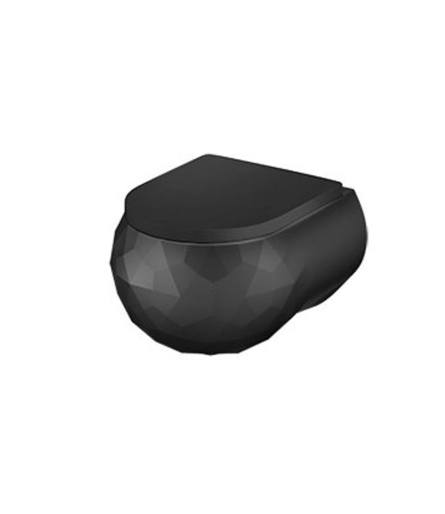 Sanitear Kwarts wandcloset zwart 53 x 35 cm zonder spoelrand