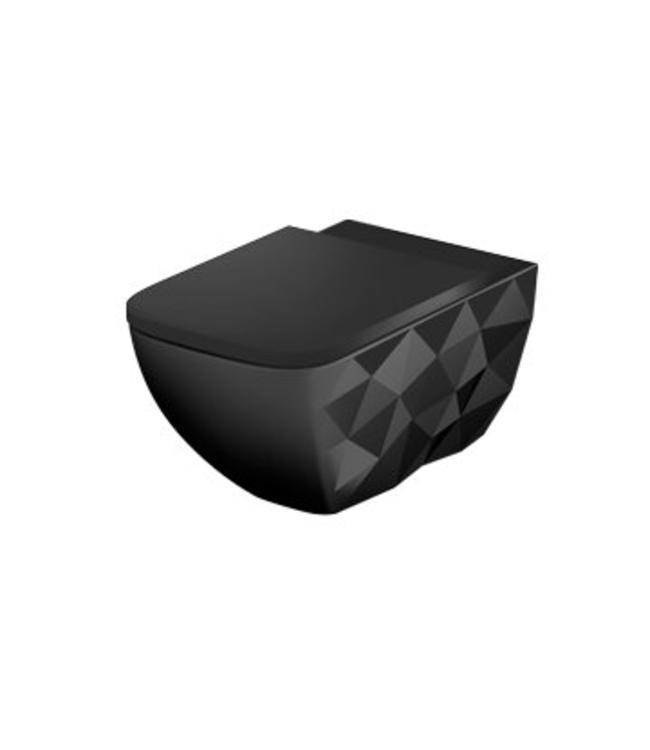Sanitear Elemento hangtoilet zwart mat incl. toiletzitting softclose