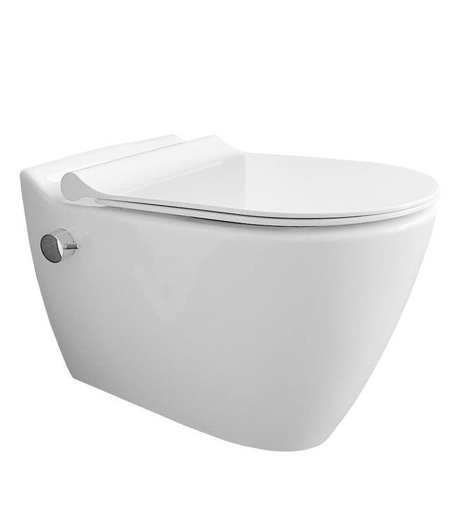 Sanitear MINERAAL Wandcloset geintegreerd  bidet kraan , Antibacterieel Nano Coating, Zonder spoelrand met Softclose toiletzitting