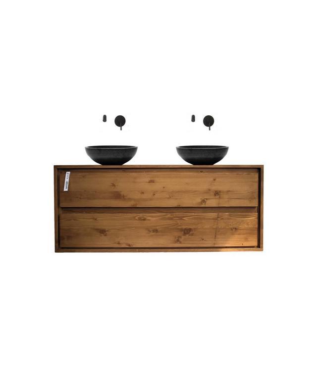 KAAN  Aanbieding ! Badkamermeubel onderkast massief hout 120 cm , soft close 2 laden