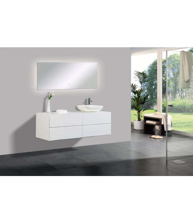 Como Badkamermeubel  set 140 cm  met led spiegel  4 push open laden met waskom