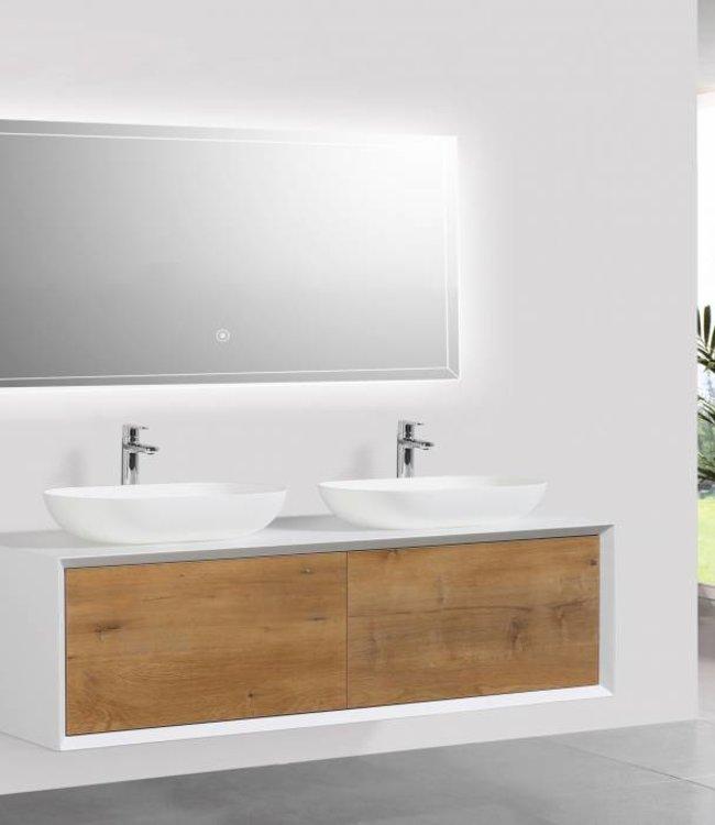 Como LECCO, Badkamermeubel  set 140 cm  eiken kleur-mat wit + Led spiegel+ 2 mineraal gegoten waskommen