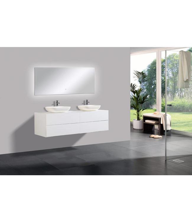 Sanitear Badkamermeubel  set 160 cm  met led spiegel  2 push open laden met waskommen