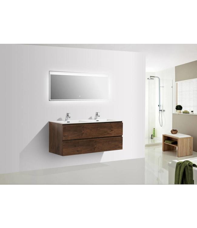 Sanitear 120 cm badkamermeubel set , donker eiken , dubbele wasbak en led spiegel