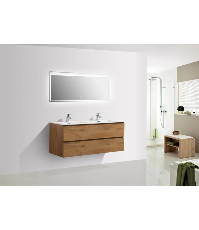 Sanitear 120 cm badkamermeubel set , eiken , dubbele wasbak en led spiegel