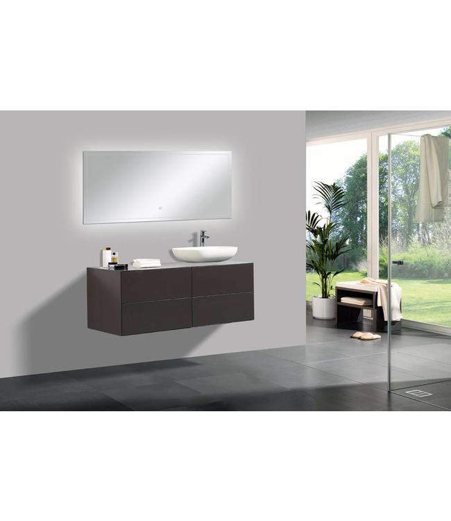 Sanitear Mat bruin , 4 laden 120 cm badkamermeubel set  & Led spiegel & waskom , push open