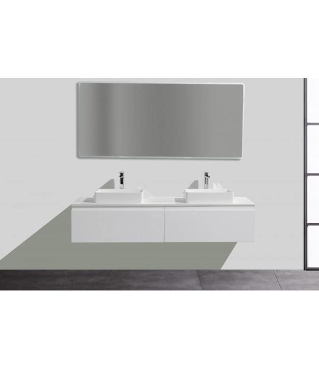 Como Badkamermeubel  set 160 cm  met led spiegel ,Hoogglans wit
