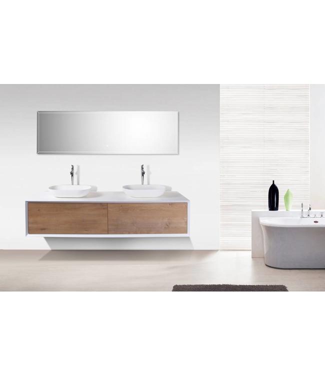 Como COMO LECCO, Badkamermeubel  set 180 cm  eiken kleur -mat wit + Led spiegel+ 2 mineraal gegoten waskommen