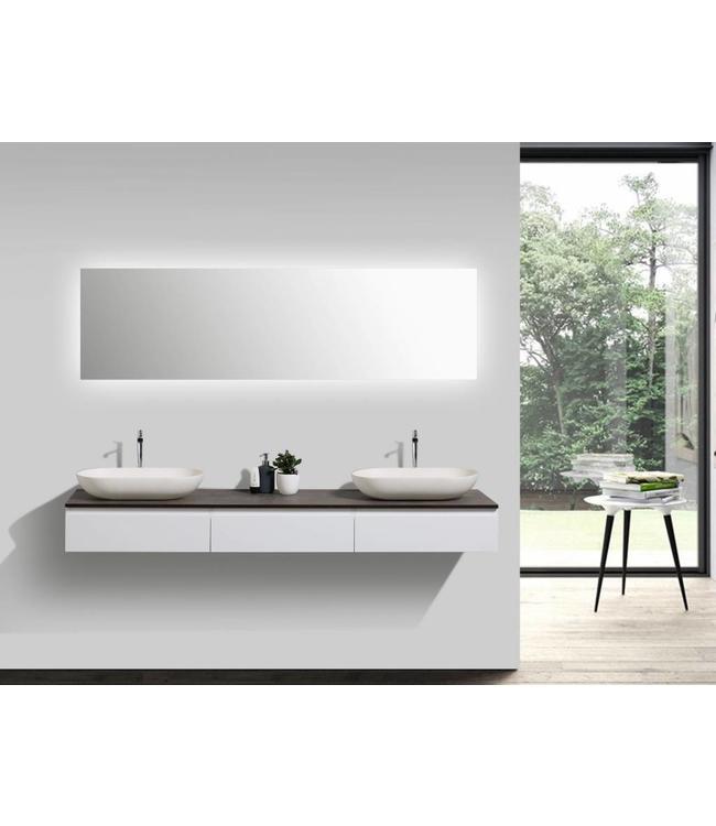 Como Badkamermeubel  set 180 cm  mat wit-eiken + Led spiegel+ 2 mineraal gegoten waskommen