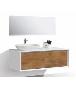 COMO Badkamermeubel  set 120 cm  eiken kleur-mat wit