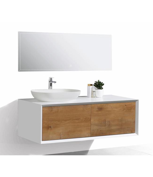 Como  LECCO , Badkamermeubel  set 120 cm  eiken kleur-mat wit + Led spiegel+ Mineraal gegoten opzetwastafel, Push to Open functie
