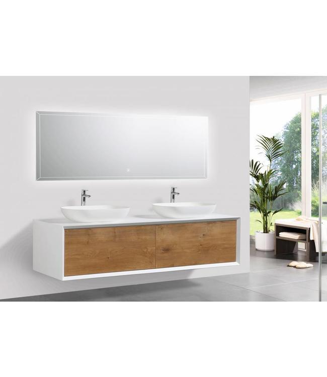 Como  LECCO, Badkamermeubel  set 160 cm  eiken-mat wit + Led spiegel+ Mineraal gegoten opzetwastafel, Push to Open functie