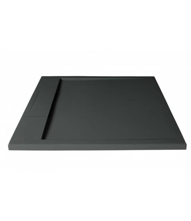 Como Douchebak 90x90 cm , Solid surface , Antraciet