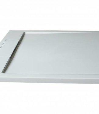 Como Mat Wit Douchebak 90x90 cm , Solid surface ,