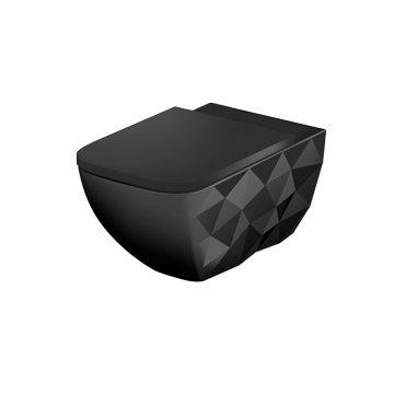 Hangtoilet mat zwart , Sanitear ELEMENTO