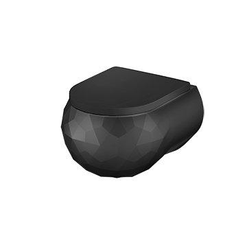 Hangtoilet mat zwart , Sanitear Kwarts