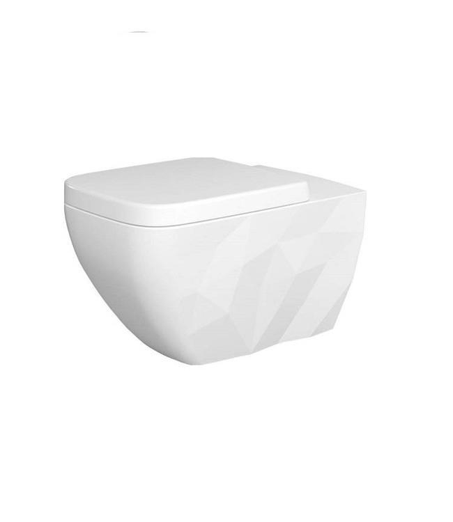 Sanitear ELEMENTO, Antibacterieel Hangend toilet, Spoelrandloos  ( rimfree) MAT WIT met zitting