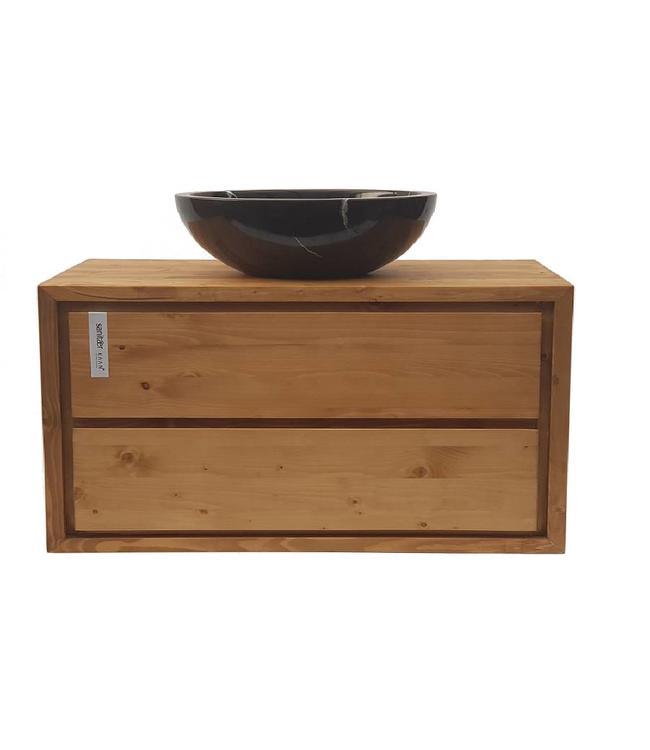 KAAN  Aanbieding ! Badkamermeubel onderkast massief hout 100 cm , soft close 2 laden