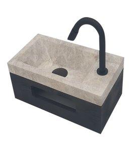 Sanitear Fonteinset toilet, rechts, marmer met massive hout planchet