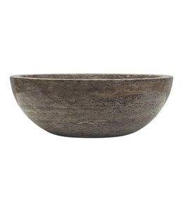 COMO Travertin waskom ,rond,35 cm-Silver Grijs