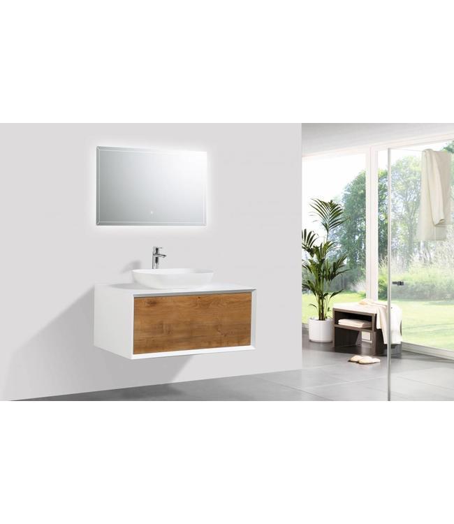 Como LECCO , Badkamermeubel  set 90 cm  eiken-mat wit + Led spiegel+ Mineraal gegoten opzetwastafel, Push to Open functie