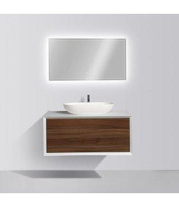 COMO LECCO Badkamermeubel  set 90 cm  walnoot kleur-mat wit