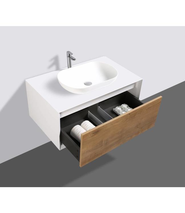 Como LECCO wastafelonderkast 90 cm  eiken kleur-mat wit, Push to Open functie