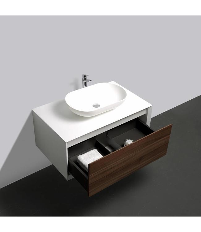 Como LECCO wastafelonderkast 90 cm  walnoot kleur-mat wit -mat wit, Push to Open functie