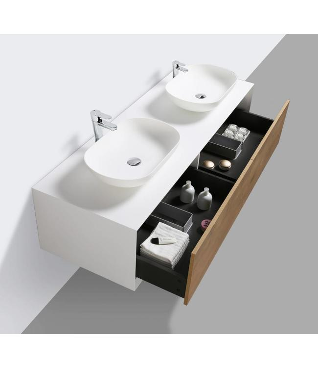 Como LECCO wastafelonderkast 160 cm  eiken-mat wit, Push to open laden