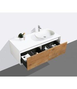 Como LECCO wastafelonderkast 120 cm  eiken-mat wit, Push to open laden