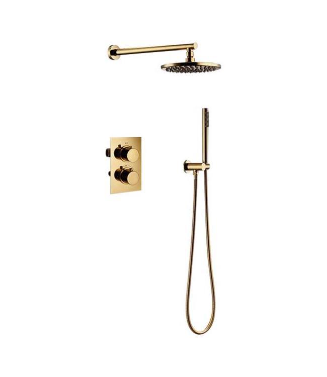 Nordlig STAAL Regendouche 30cm inclusief inbouw thermostatische douchekraan, wandarm en handdouche in goud kleur