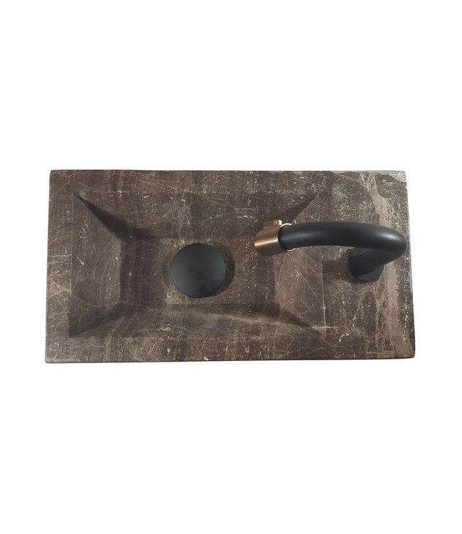 Como 40 x 20 x 16 cm Fonteinset toilet,marmer met massive hout planchet