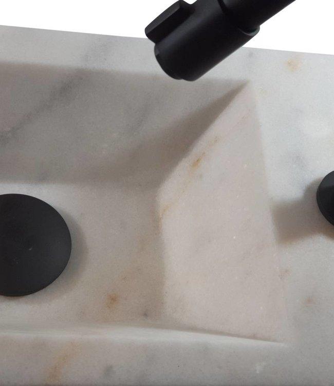 Como 40 x 20 x 16 cm Fontein toilet marmer met massief hout planchet