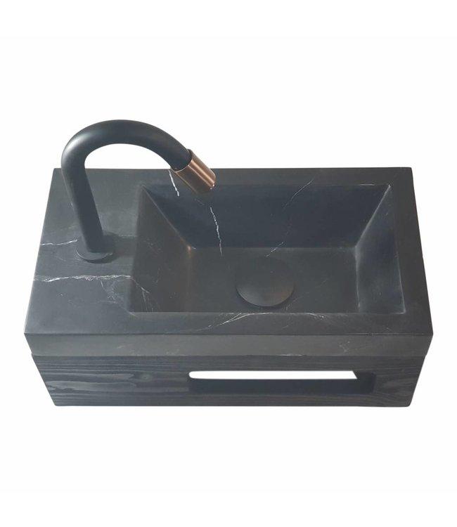 Como Black'N Roses fontein mini toilet wastafel zwart 40 x 22 x 14 cm links