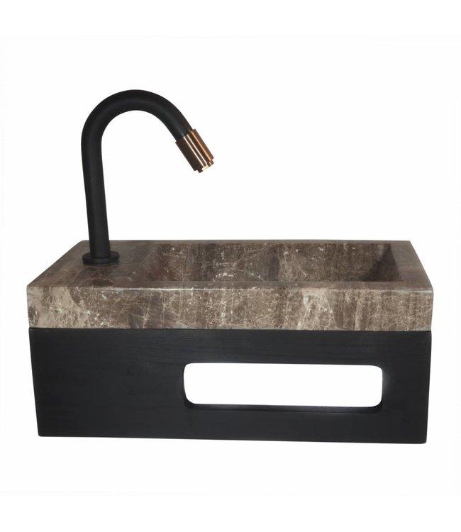 COMO Concept  40 x 20 x 16 cm Fonteinset toilet,marmer met massive hout planchet    LINKS