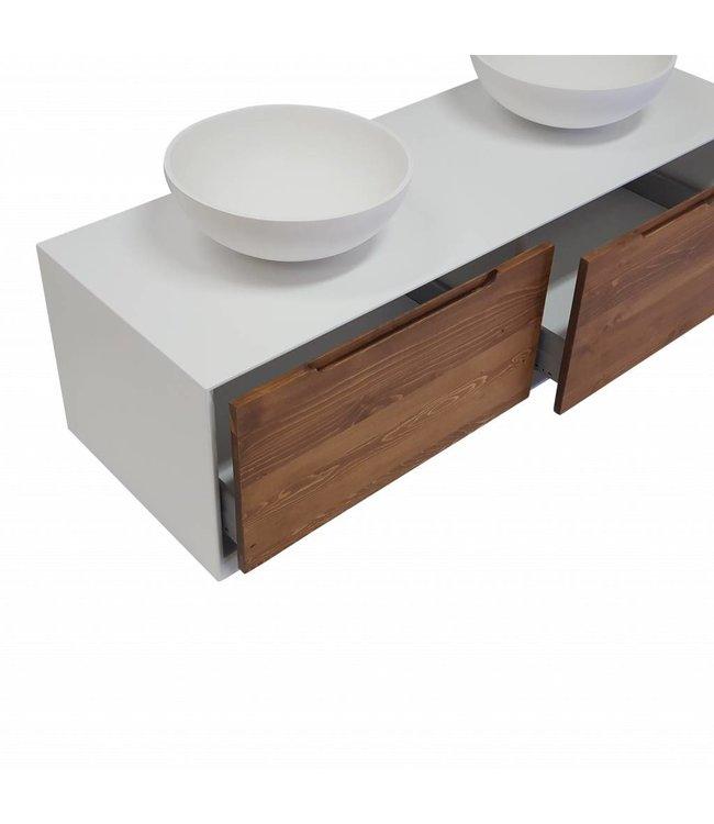 Como Lecco Wood Badkamermeubel mat wit badkamermeubel set 140 cm