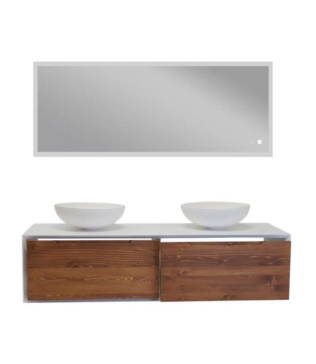 COMO Lecco Wood mat wit badkamermeubel set 140 cm