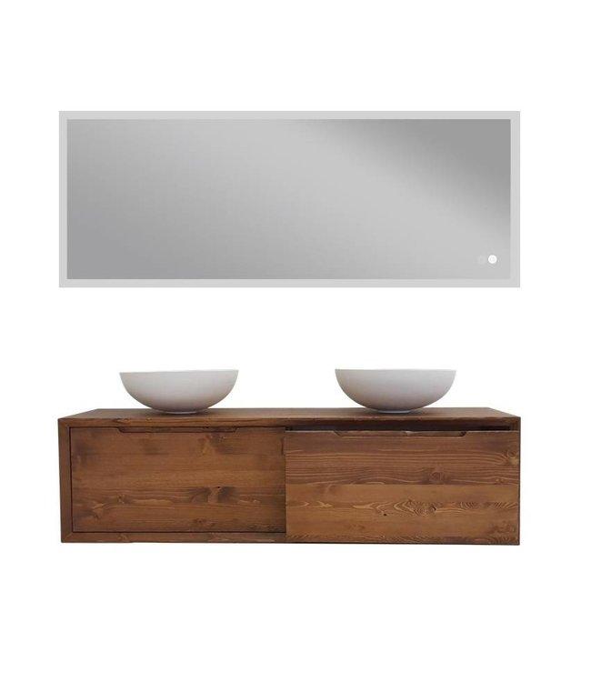COMO Wood mat wit badkamermeubel set 140 cm