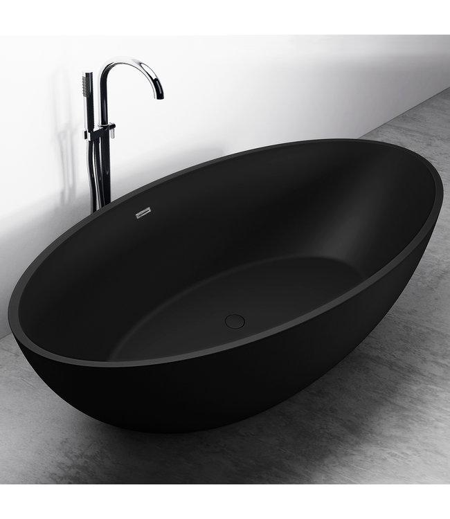 COMO LECCO  Vrijstaand ligbad , solid surface , mat zwart
