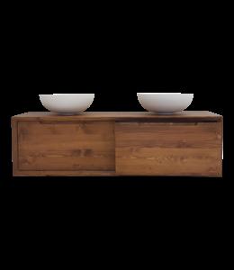 COMO Wood,  wastafelonderkast hout,160cm