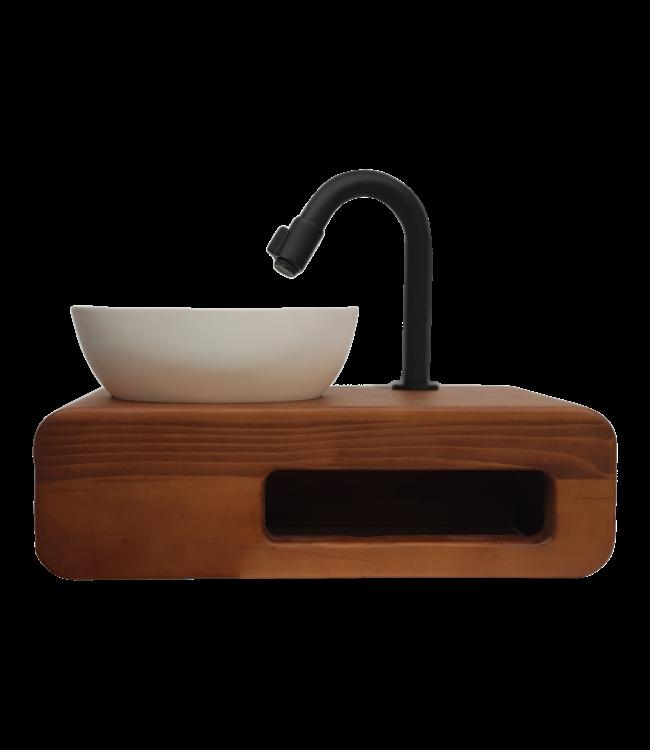 Como Fontein toilet DVFSZLG023 solid surface waskom met massieve houten planchet